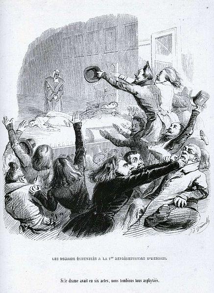bataille Hernani Victor Hugo chef de file romantisme Grandville