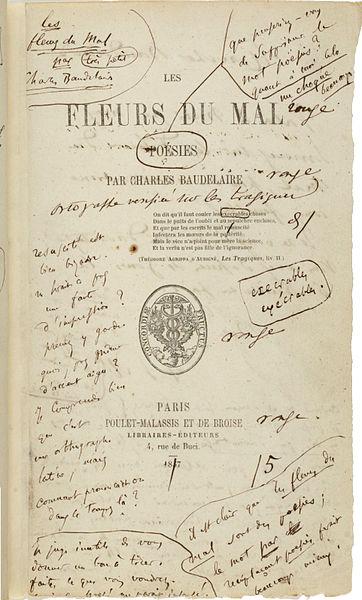 édition 1857 Les Fleurs du mal anotée par Baudelaire