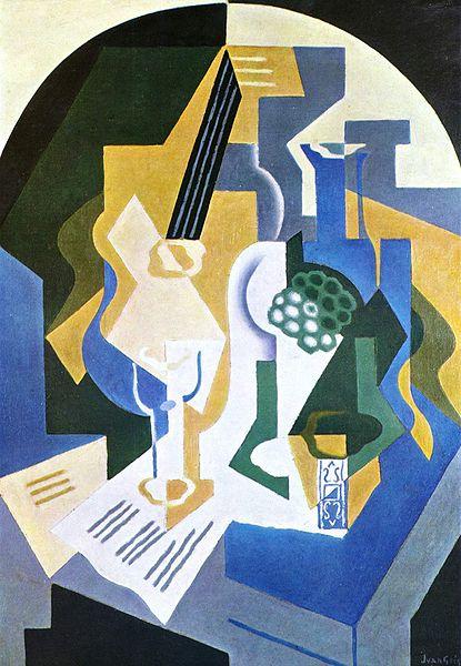 cubisme Juan Gris nature morte fruits et mandoline