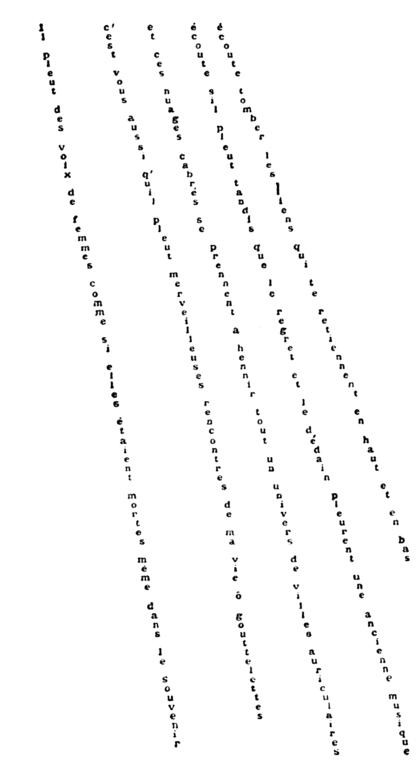 Caligrammes Apollinaire il pleut