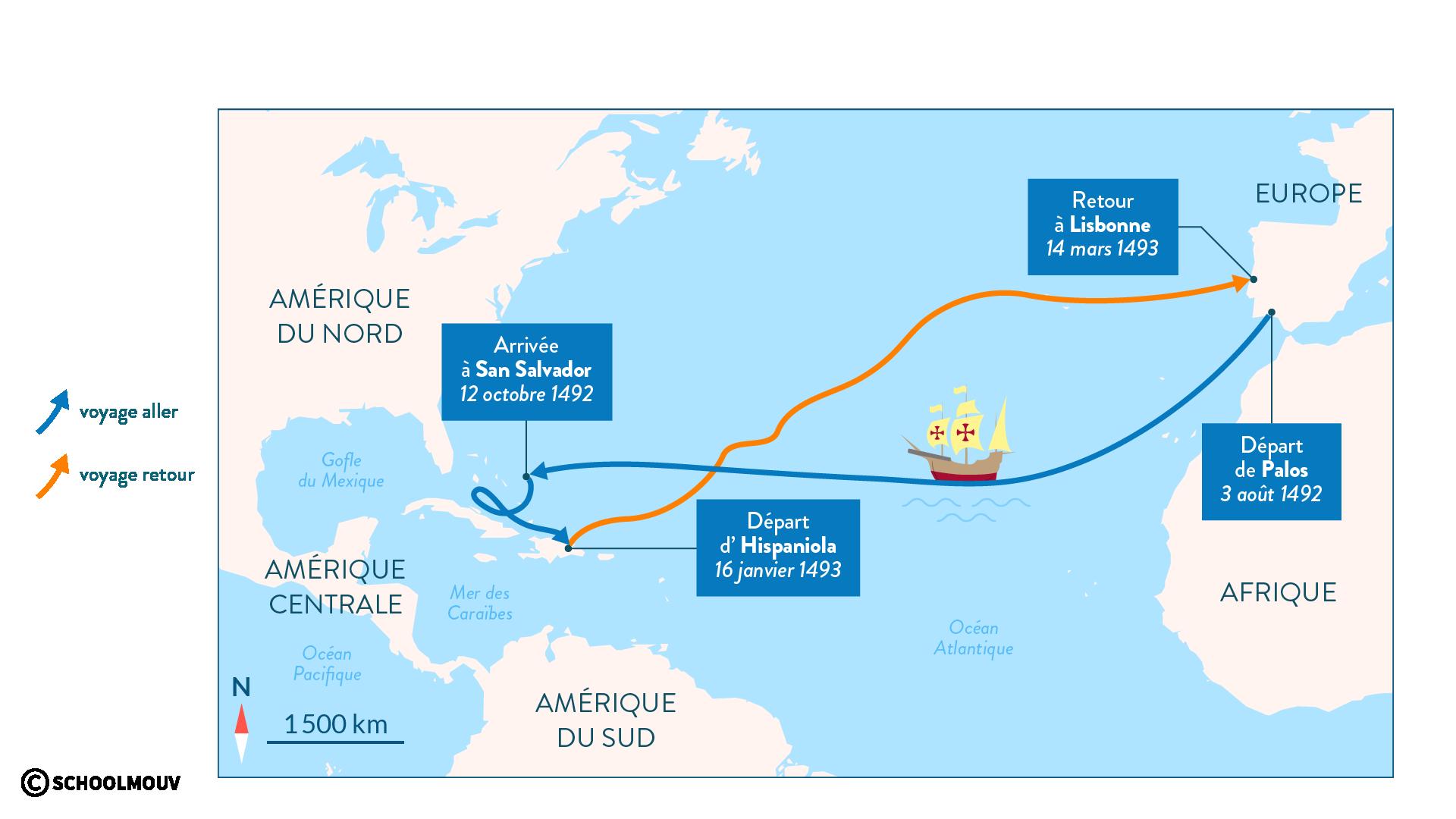 Christophe Colomb découverte Amérique premier voyage