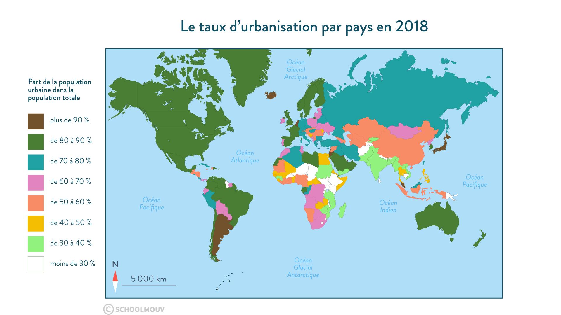 Le taux d'urbanisation par pays en 2018 - Géographie - 1re - SchoolMouv