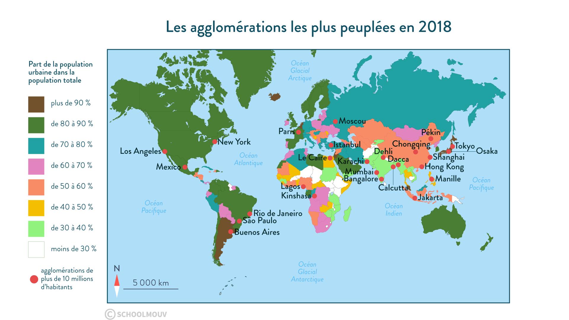 Les agglomérations les plus peuplées en 2018 - géographie - 1re - SchoolMouv