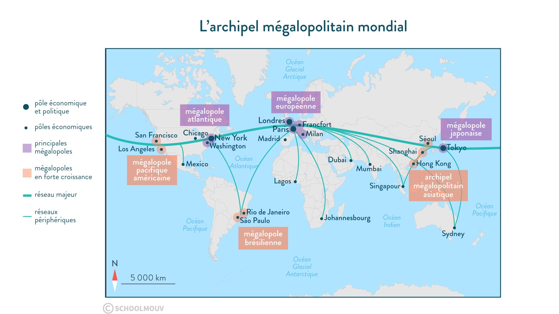 L'archipel mégalopolitain mondial - géographie - 1re - SchoolMouv