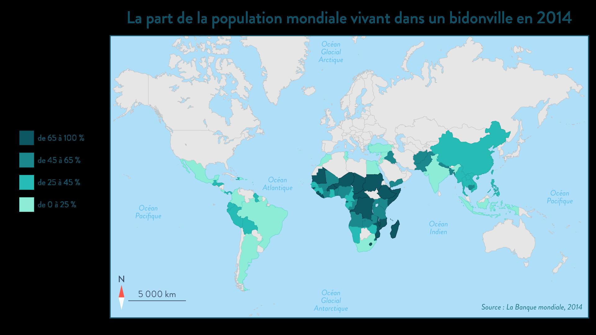 La part de la population mondiale vivant dans un bidonville en 2014 - SchoolMouv - 1re - Géographie