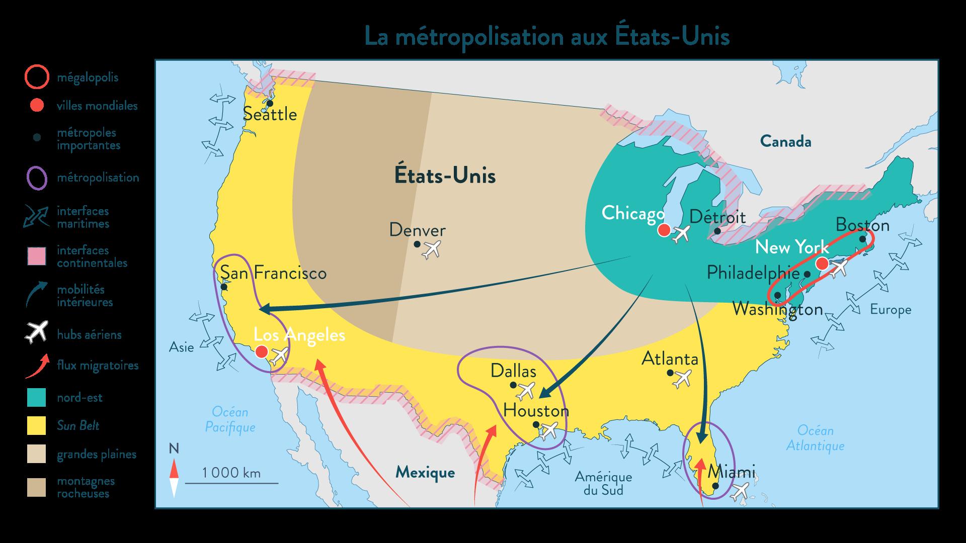 La métropolisation aux États-Unis - géographie 1re - SchoolMouv