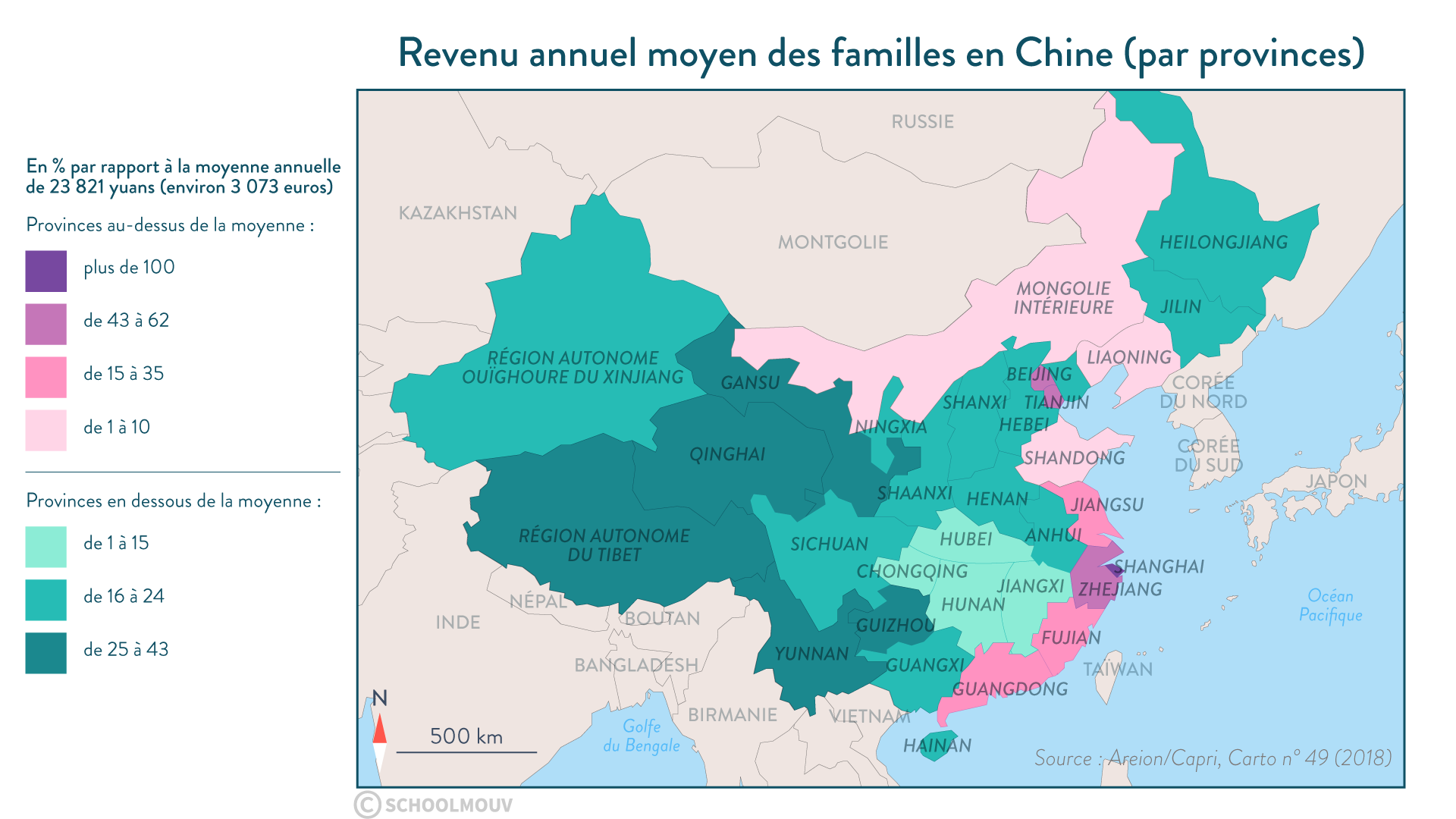 Revenu annuel moyen des familles en Chine (par province) - Géographie - 1re - SchoolMouv