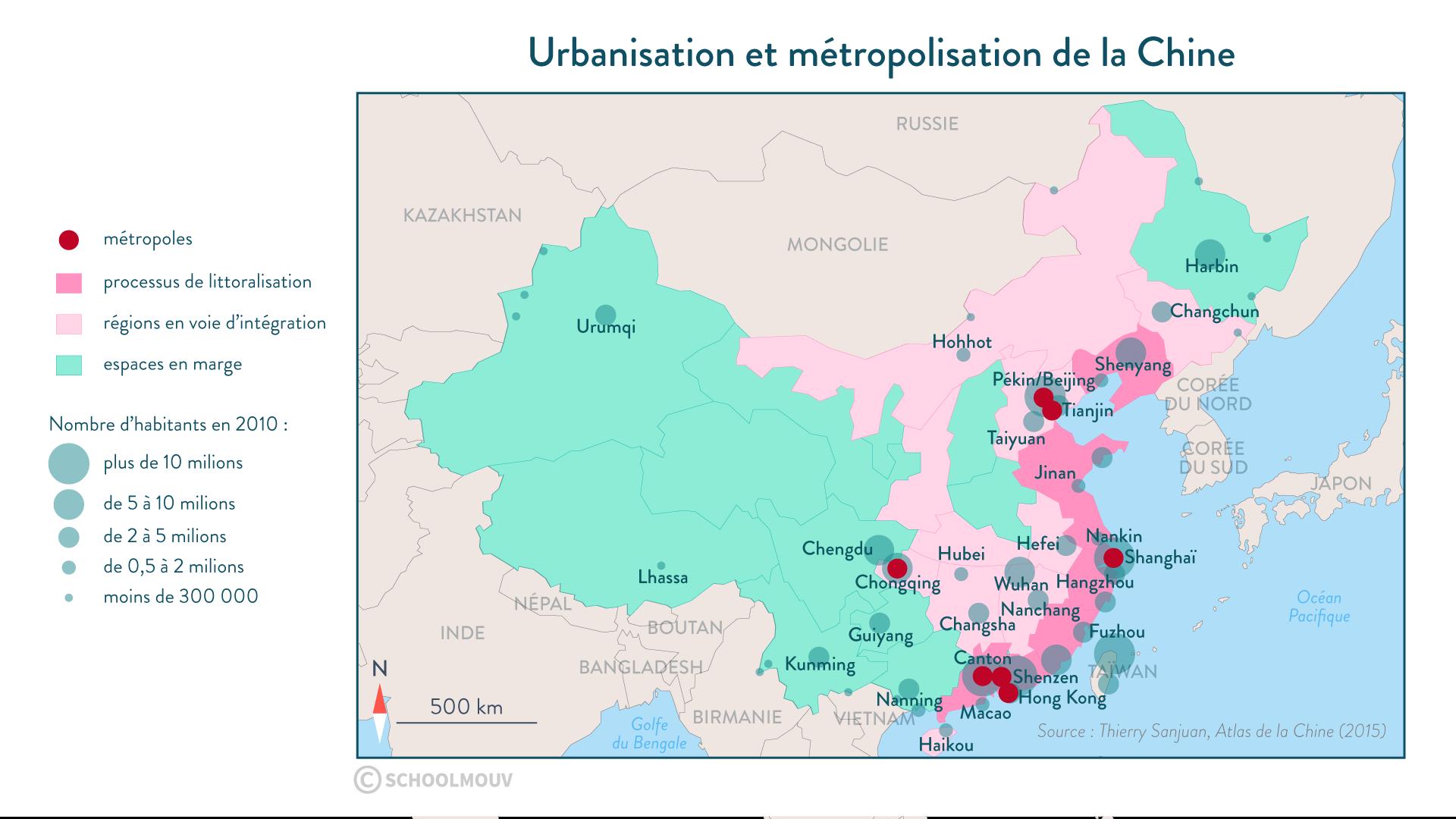 Urbanisation et métropolisation de la Chine - SchoolMouv - géographie - 1re