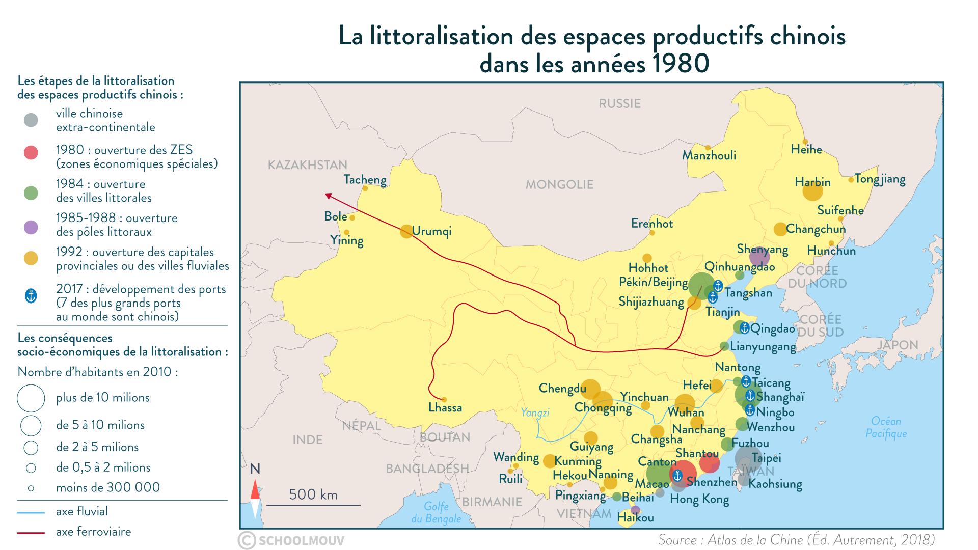 La littoralisation des espaces productifs chinois dans les années 1980 - SchoolMouv - Géographie - 1re