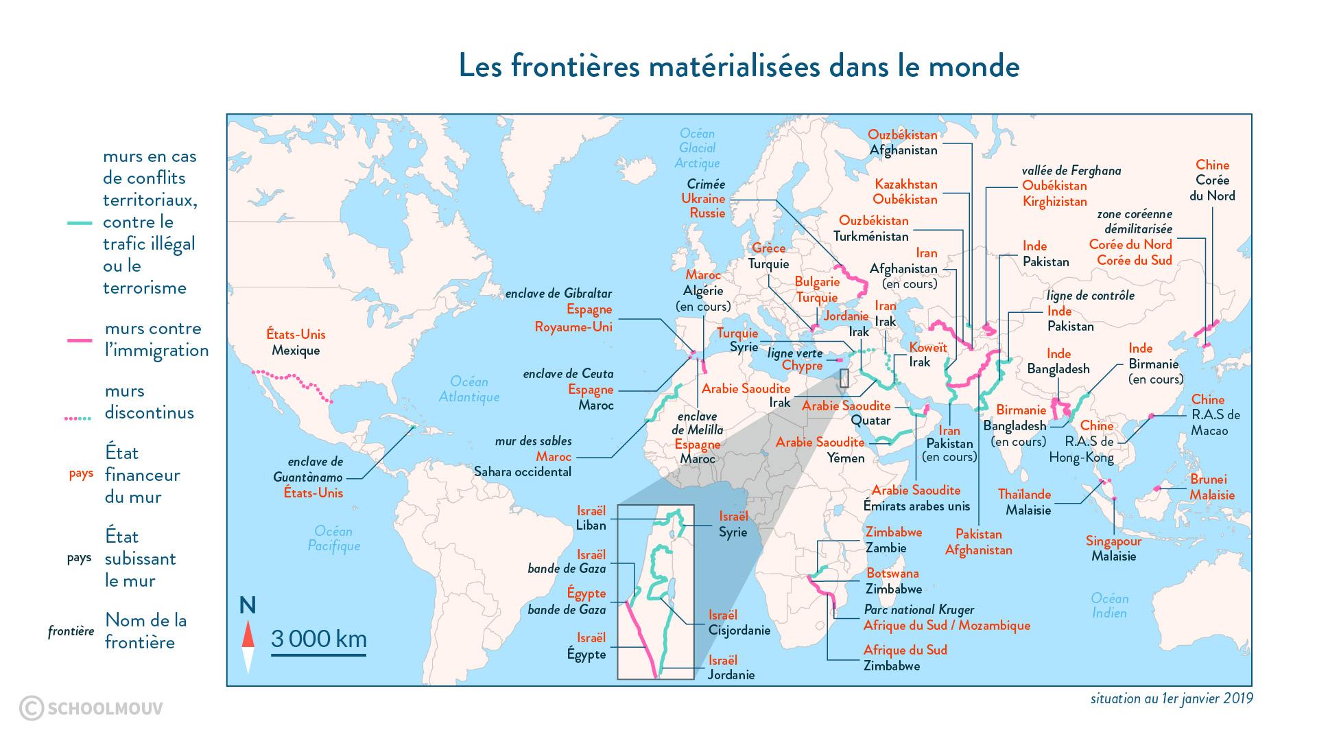 frontières matérialisées monde