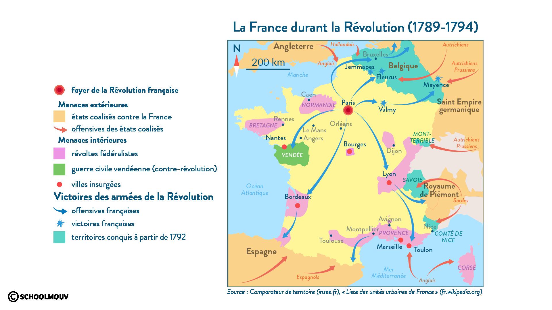 La République assiégée: les menaces extérieures et intérieures (1790-1794) - Histoire - 1re - SchoolMouv