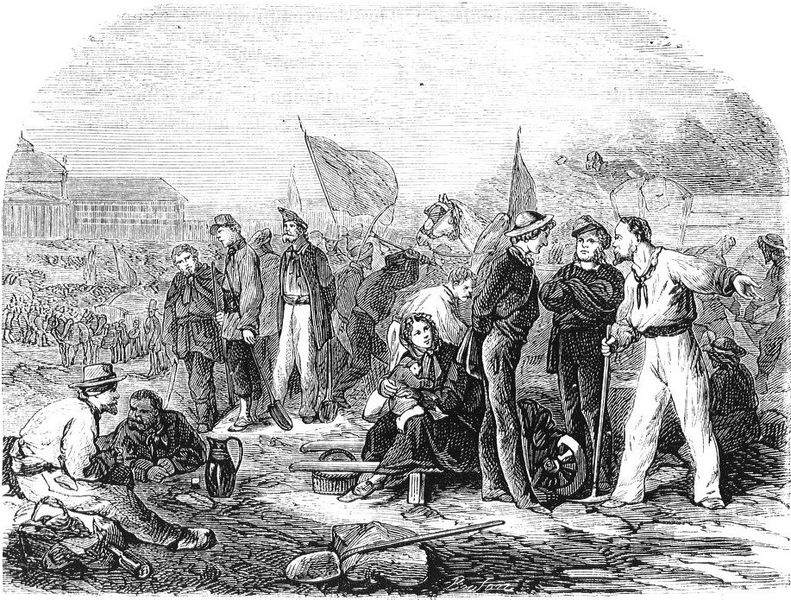 Les ateliers nationaux au Champ-de-Mars, gravure de Bouton, vers 1849 - Histoire - 1re - SchoolMouv