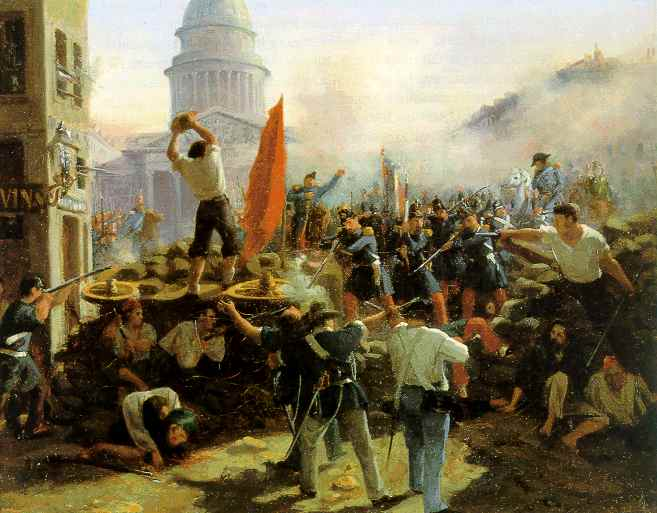 Barricade dans la rue de Soufflot, Horace Vernet, 1848 - Histoire - 1re - SchoolMouv