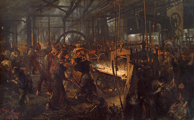 Usine au XIX<sup>e</sup> siècle, Adolph von Menzel,1875  - Histoire - 1re - SchoolMouv