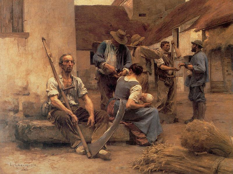 Léon Augustin Lhermitte, La Paye des moissonneurs, 1882 - Histoire - 1re - SchoolMouv