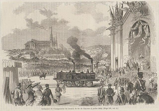 Cérémonie de l'inauguration du chemin de fer de Chartres, 1849, histoire - 1re - SchoolMouv
