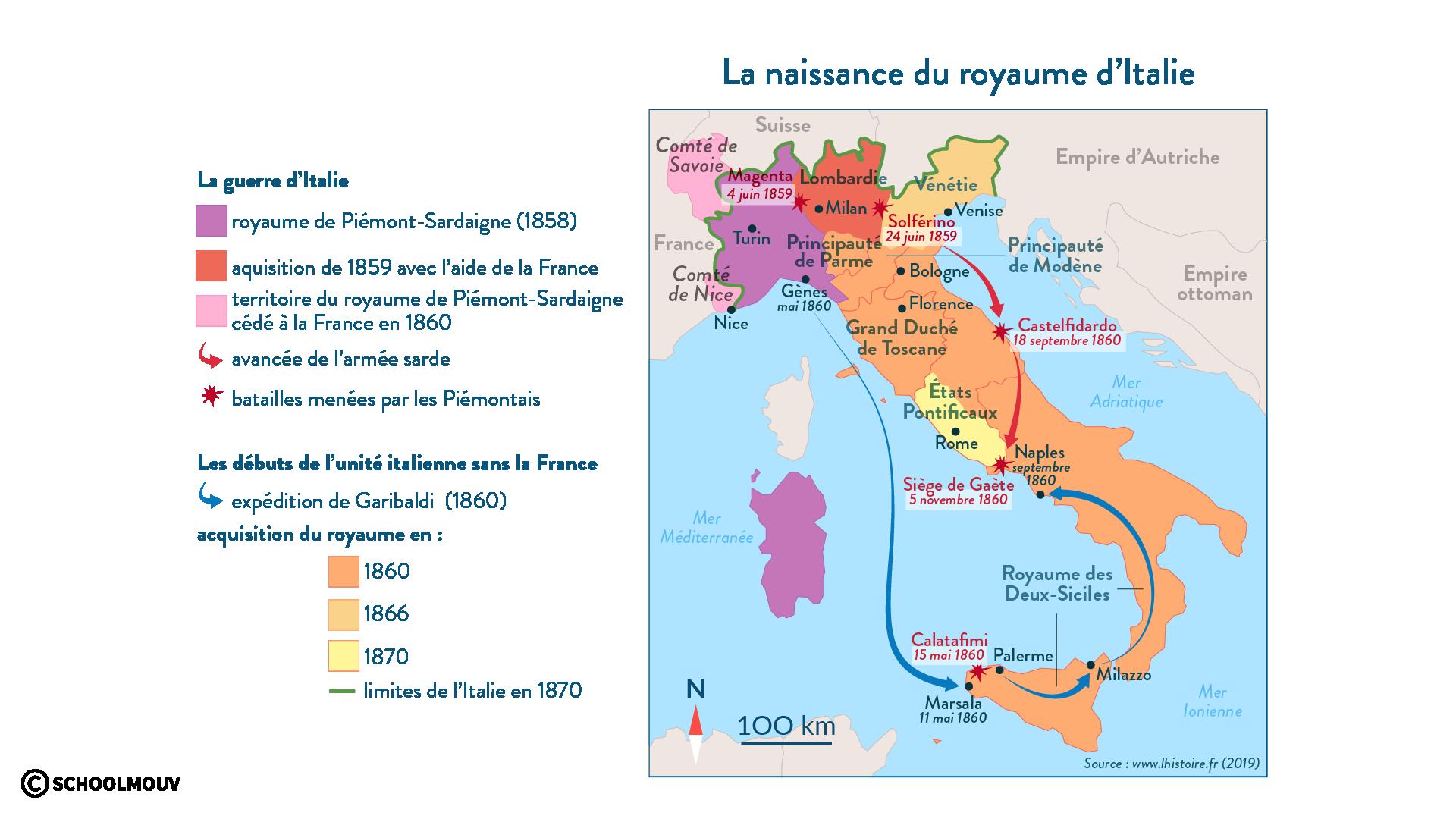 La naissance du royaume d'Italie - Histoire - 1re - SchoolMouv