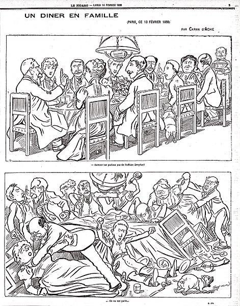 Caricature de Caran d'Ache, parue dans le Figaro le 14 février 1888, à propos de l'affaire Dreyfus- Histoire - 1re - SchoolMouv