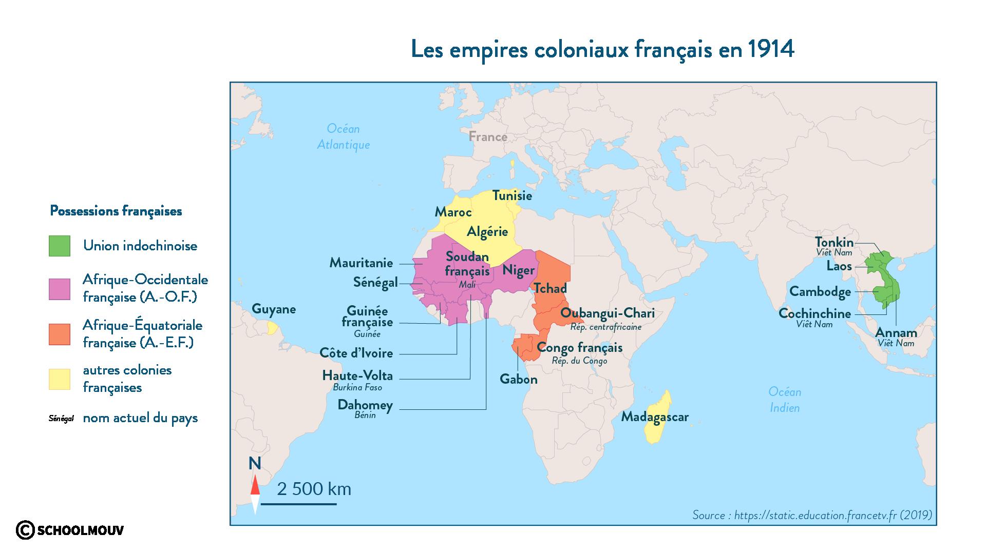 Les empires coloniaux français en 1914 - Histoire - 1re - SchoolMouv