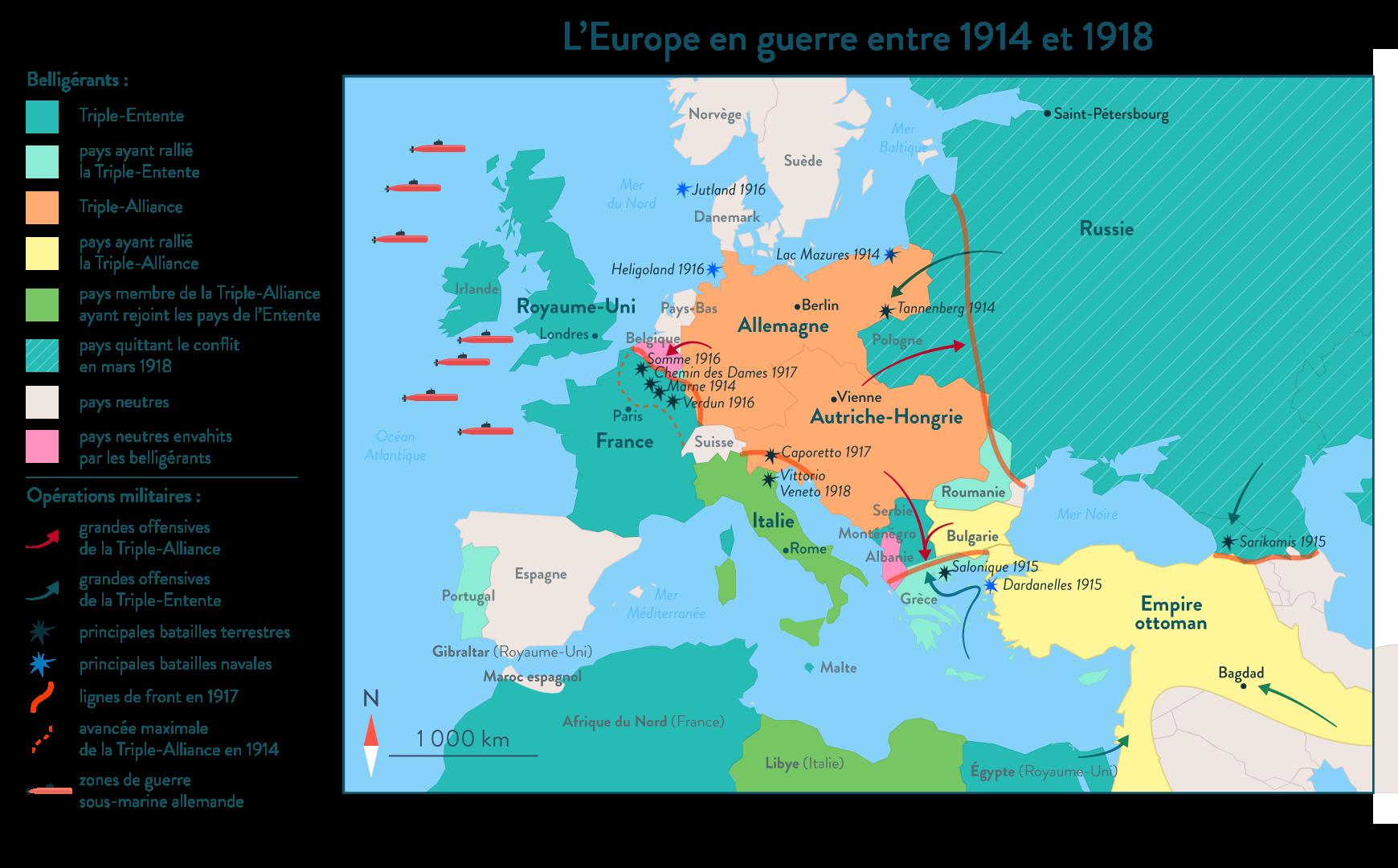 L'Europe en guerre entre 1914 et 1918 - Histoire - 1re - SchoolMouv