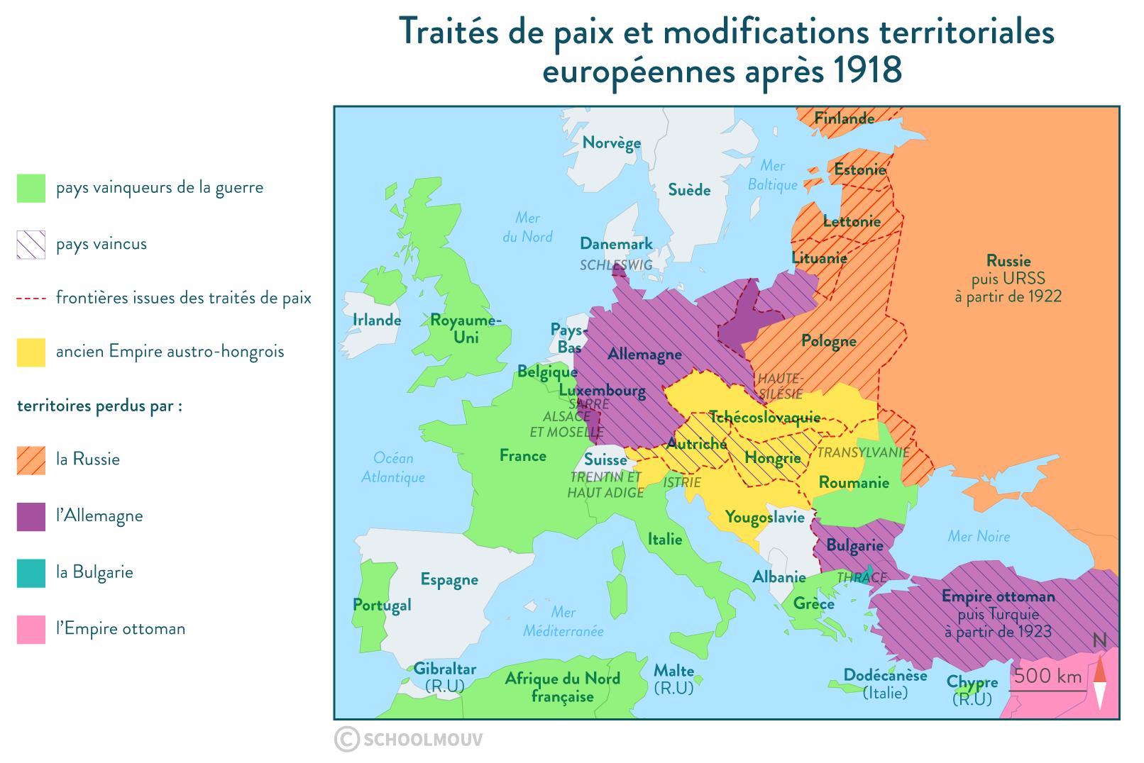 Les traités de paix et les modifications territoriales qu'ils engendrent en Europe