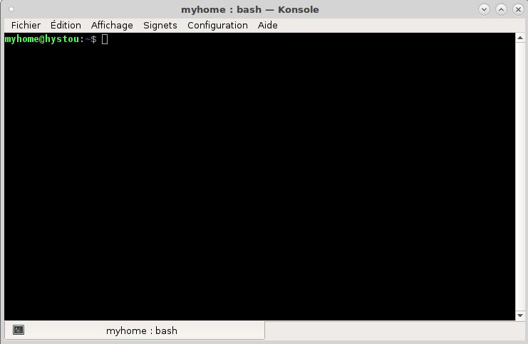 Fenêtre de l'application Konsole sous Debian