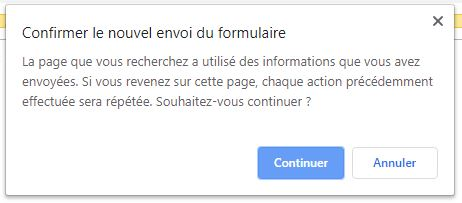 Message alerte chrome avec POST