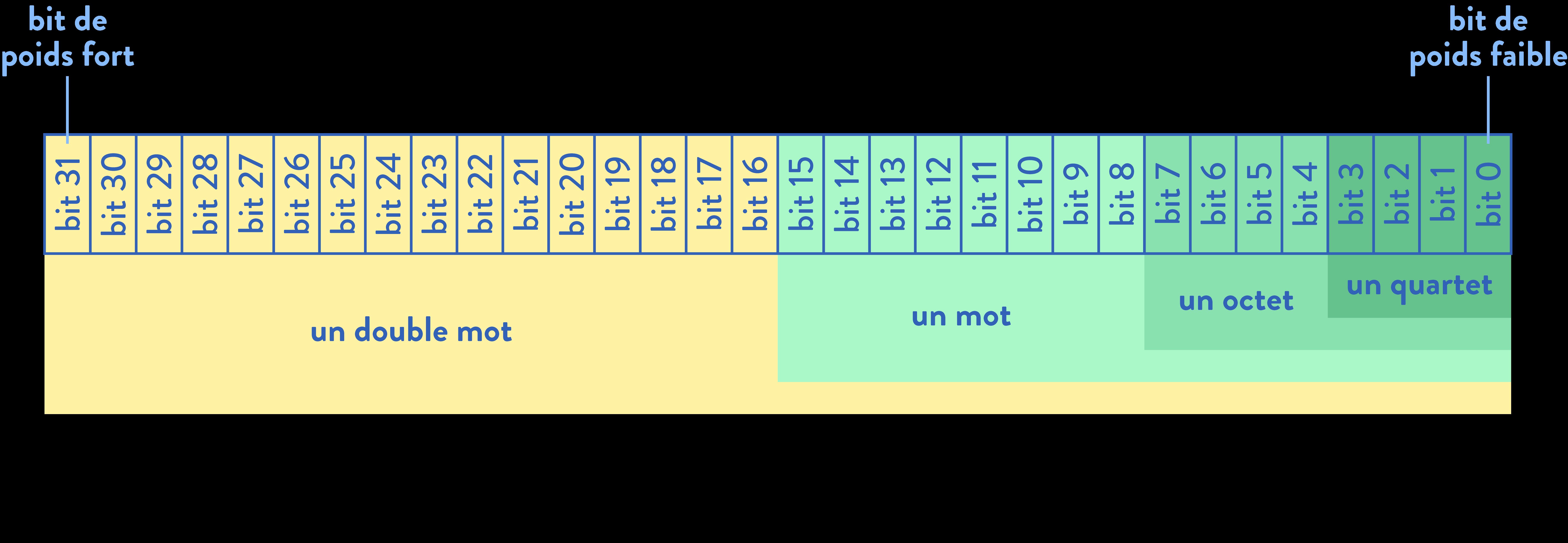première sciences de l'ingénieur codage de l'information bit octet quartet mot double mot poids fort poids faible