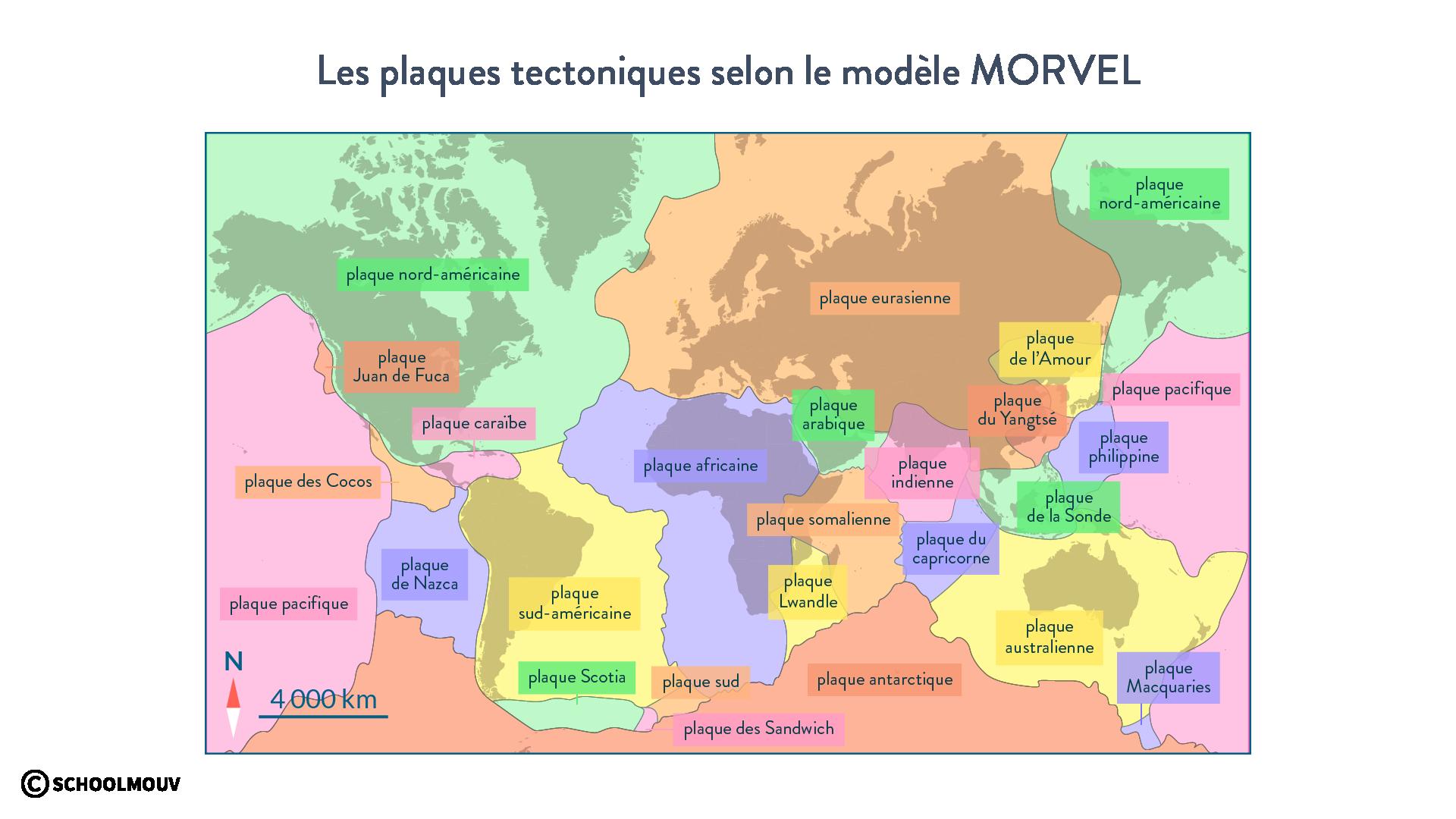 Les plaques tectoniques selon le modèle Morvel svt première schoolmouv