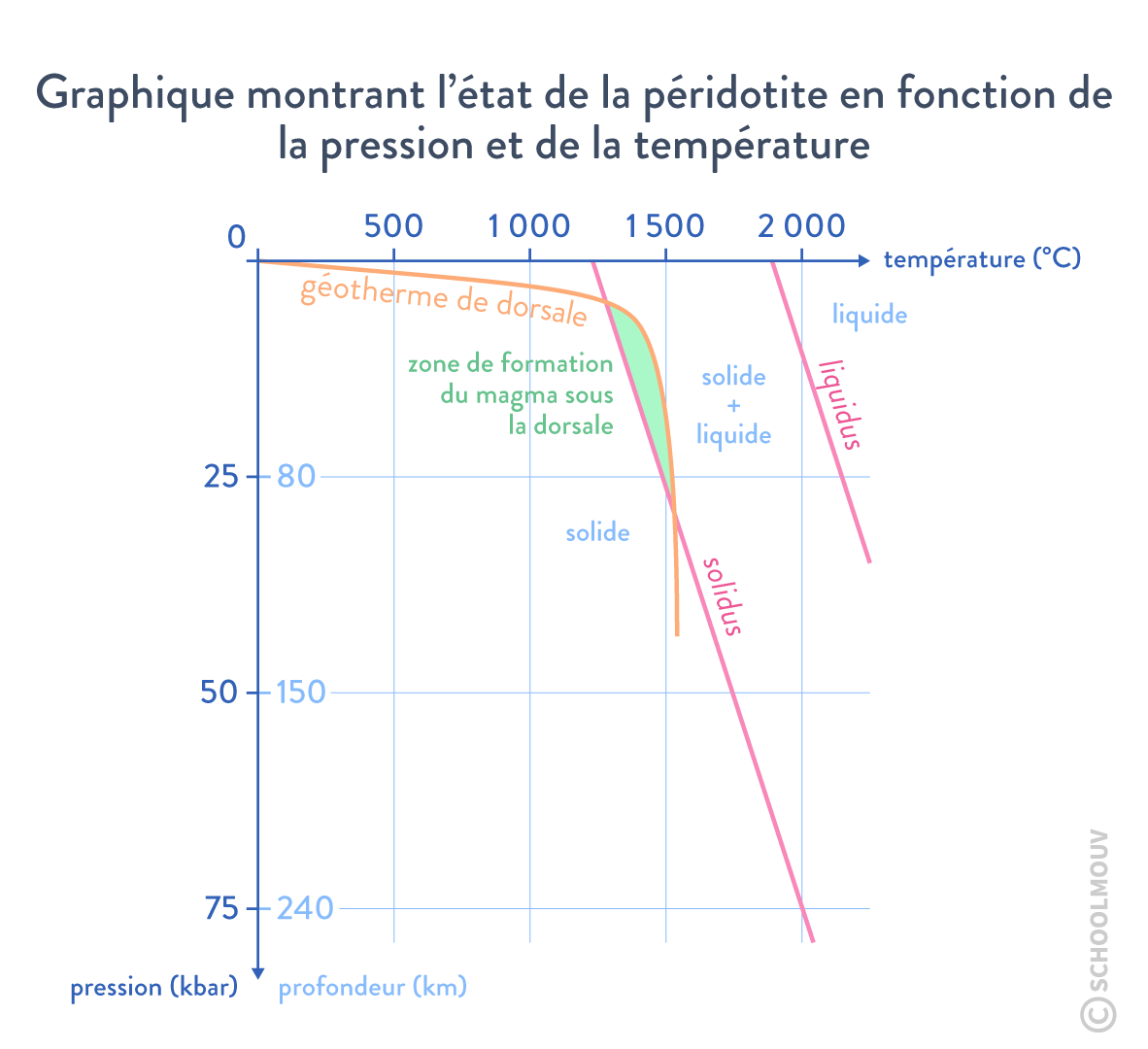 Graphique montrant l'état de la péridotite en fonction de la pression et de la température solidus liquidus solidus géotherme svt première