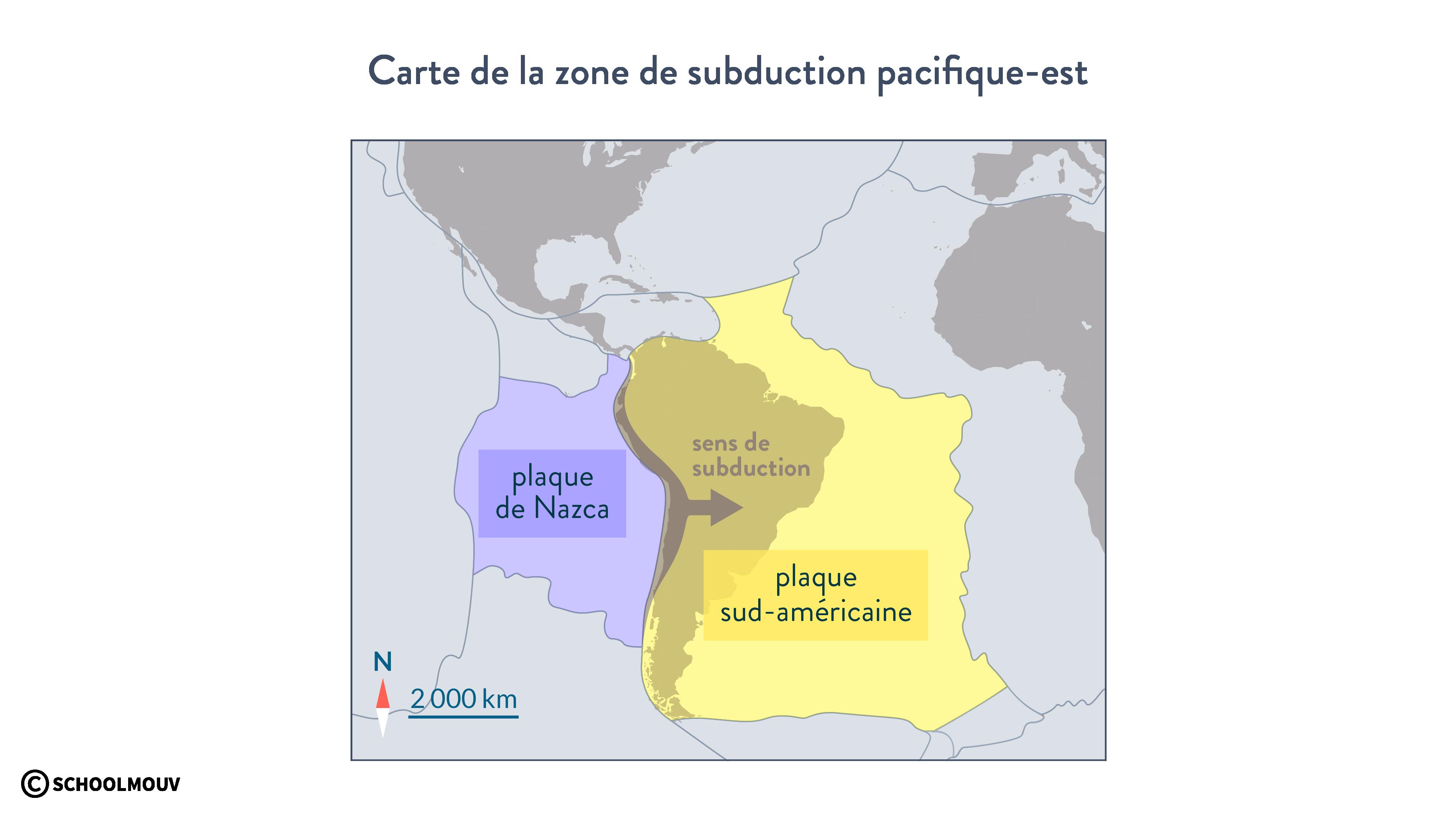Carte de la zone de subduction pacifique-est plaque Nazca plaque sud-américaine svt première