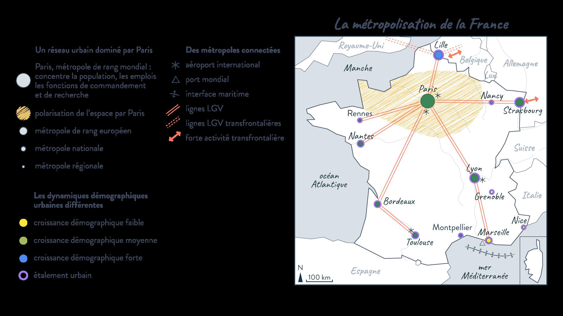 Carte sujet 0 - La métropolisation de la France - histoire schoolmouv 1re