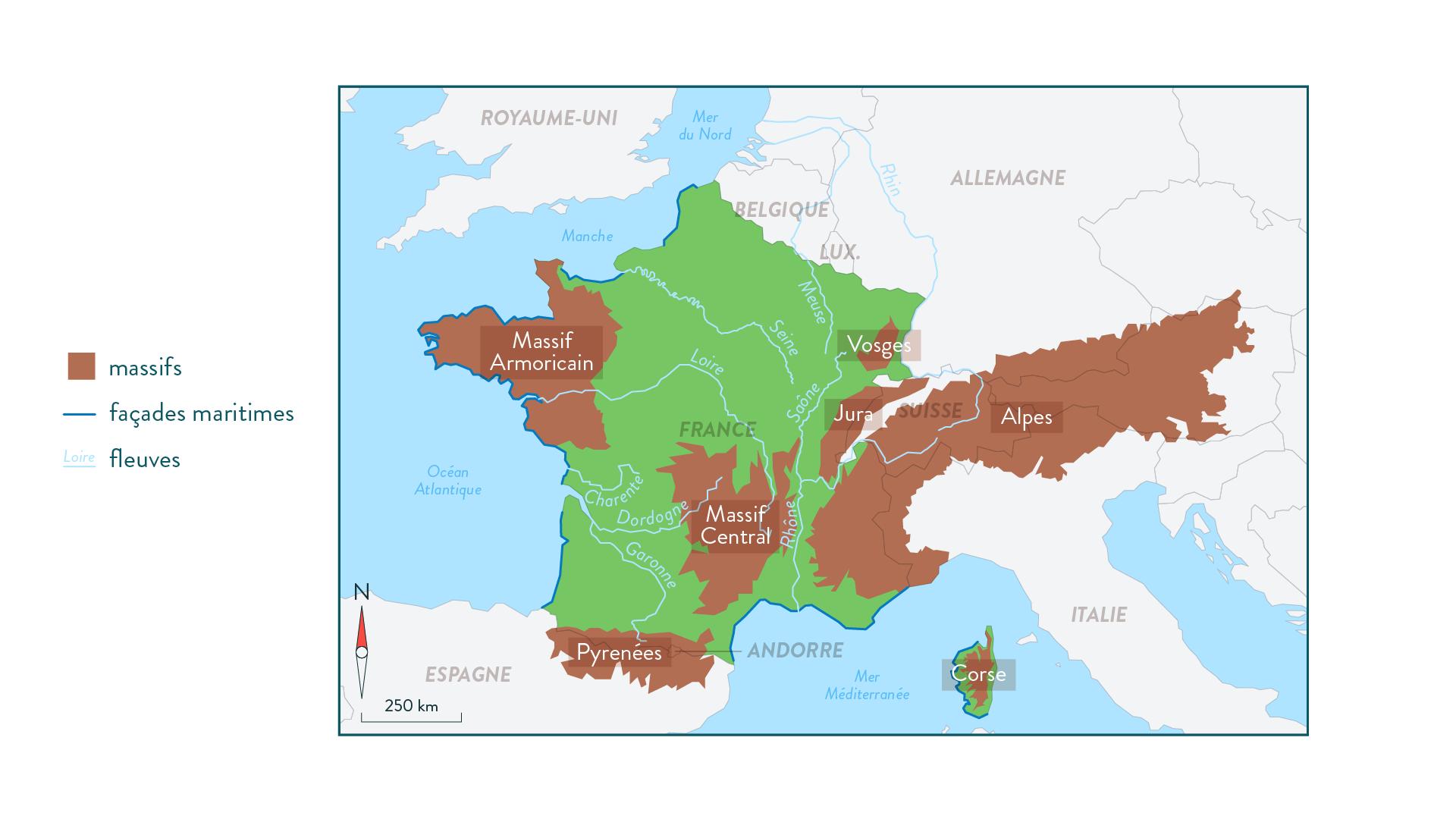 Carte des principales caractéristiques géographiques de la France