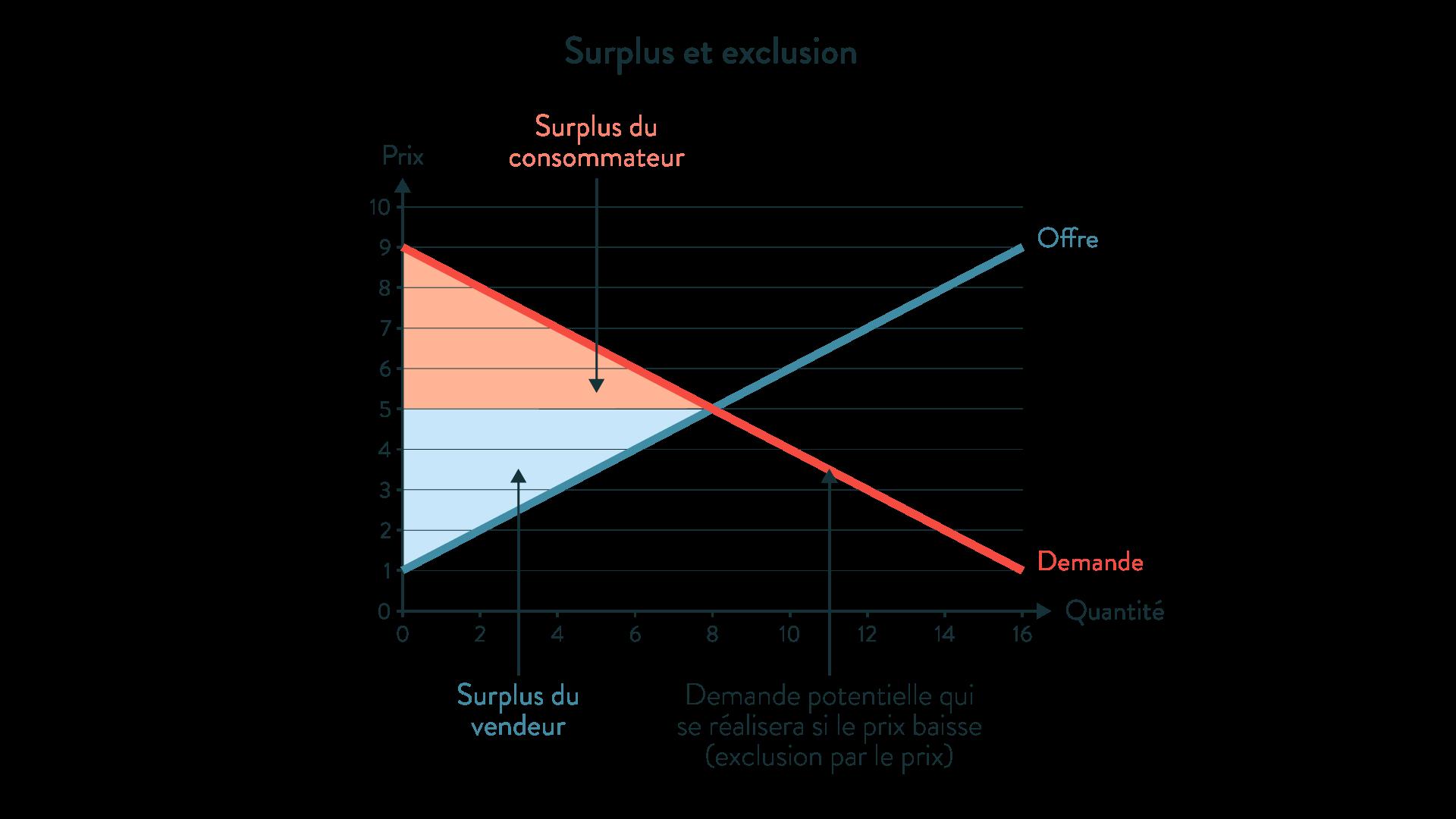ses première surplus et exclusion producteur consommateur offre demande quantité prix