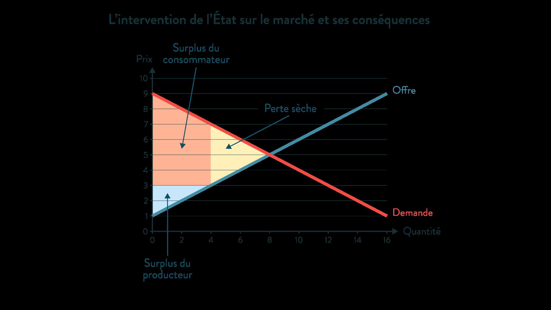 ses première l'intervention de l'État sur le marché et ses conséquences surplus du producteur perte sèche consommateur offre demande prix quantité