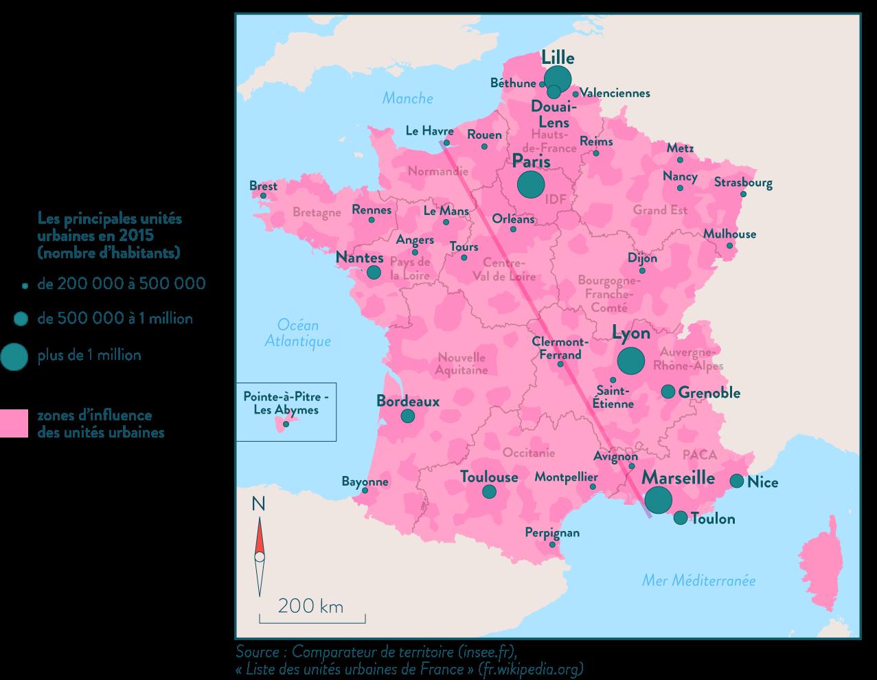 Carte des principaux territoires urbains en France