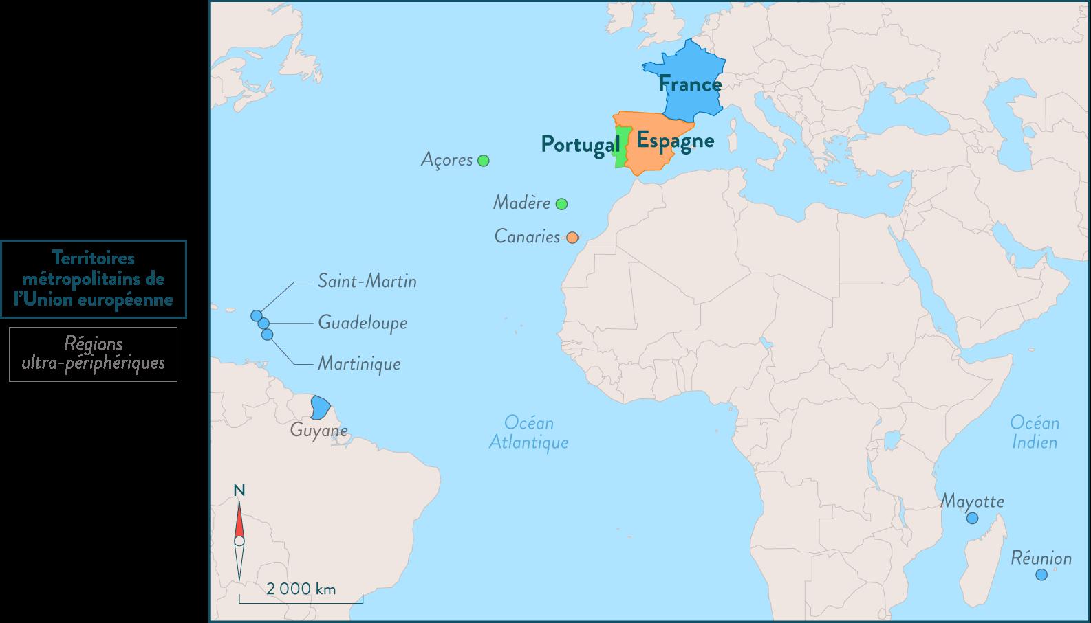 Carte des neufs régions ultrapériphériques de l'Union européenne