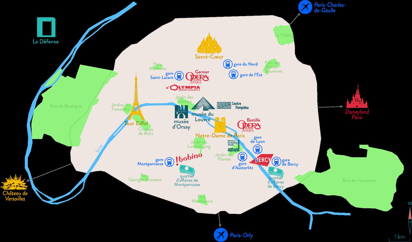 Carte de l'emplacement des principaux monuments et musées parisiens