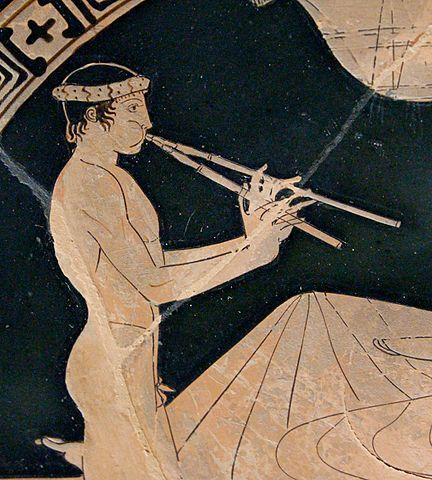 Garçon jouant de l'aulos, détail d'une coupe du V<sup>e</sup>siècle avant J.-C.