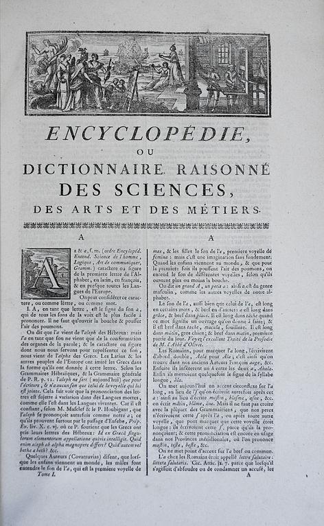 Première page de l'édition de1751 de l'Encyclopédie ou Dictionnaire raisonné des sciences, des arts et des métiers