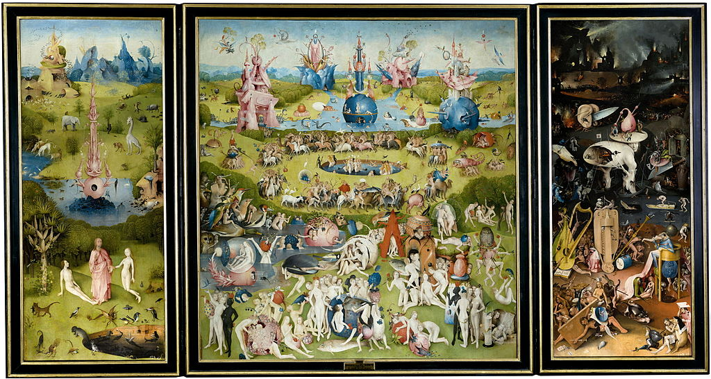 Le Jardin des délices, JérômeBosch, entre1500 et1505, huile sur toile, 220×386cm, musée du Prado, Madrid