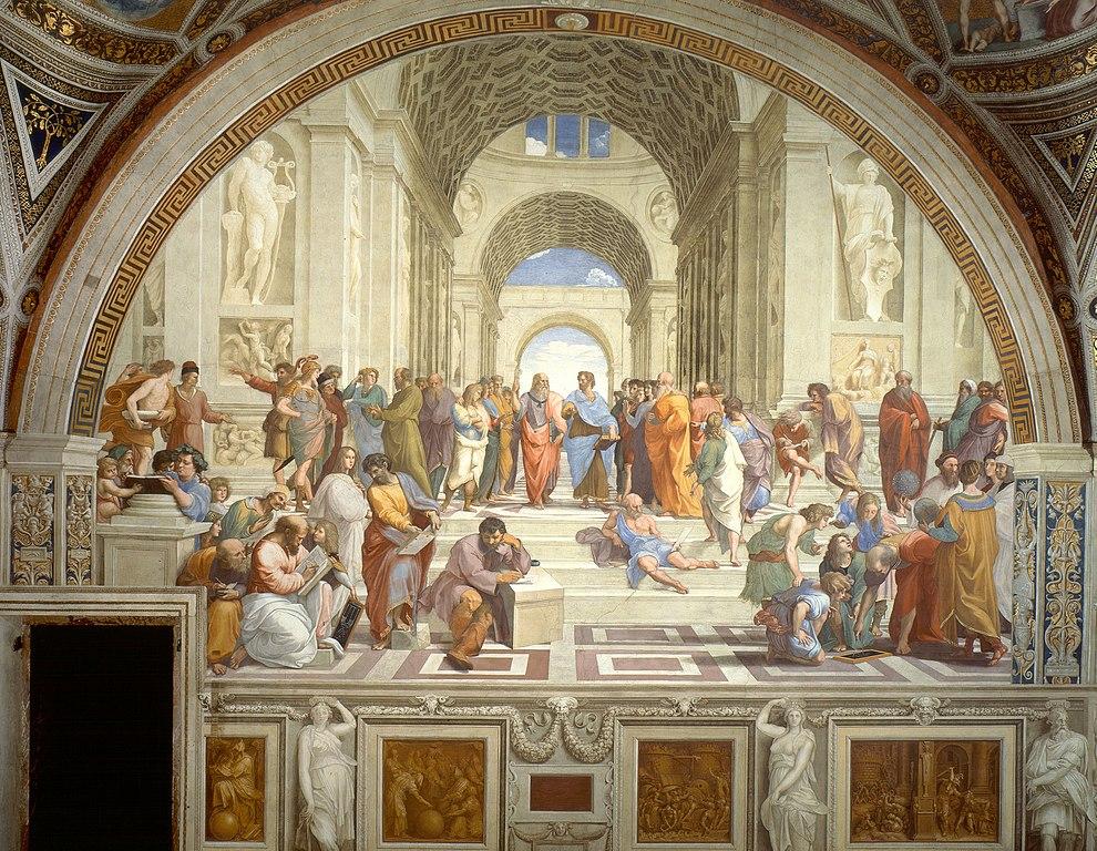 L'École d'Athènes, Raphaël, 1511, fresque, 500cm×7,7m, Chambre de la Signature, musée du Vatican