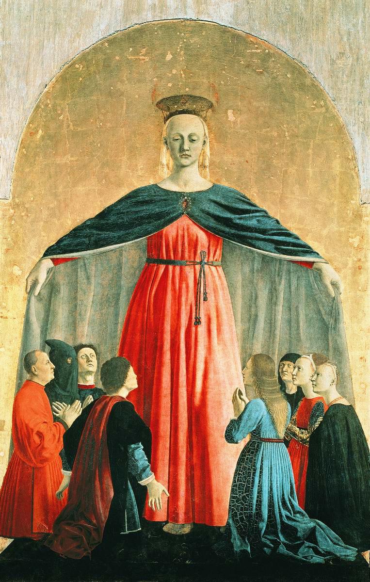 La vierge de la miséricorde, panneau central du polyptyque, PierodellaFrancesca, 1445, peinture à l'huile, tempera et or sur bois, 273×330cm, musée civique de Sansepolcro