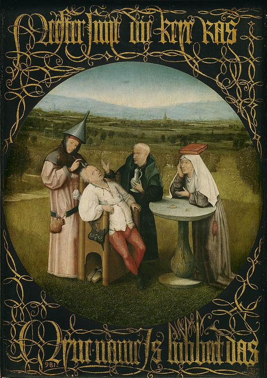 L'extraction de la pierre de folie, JérômeBosch, entre1494 et1516, huile sur panneau de bois, 47,5×34,5cm, musée du Prado, Madrid