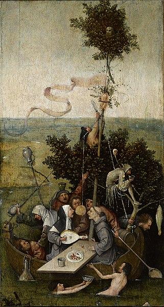 La nef des fous, JérômeBosch, entre1494 et1510, huile sur panneau de bois, 58×32,5cm, musée du Louvre, Paris