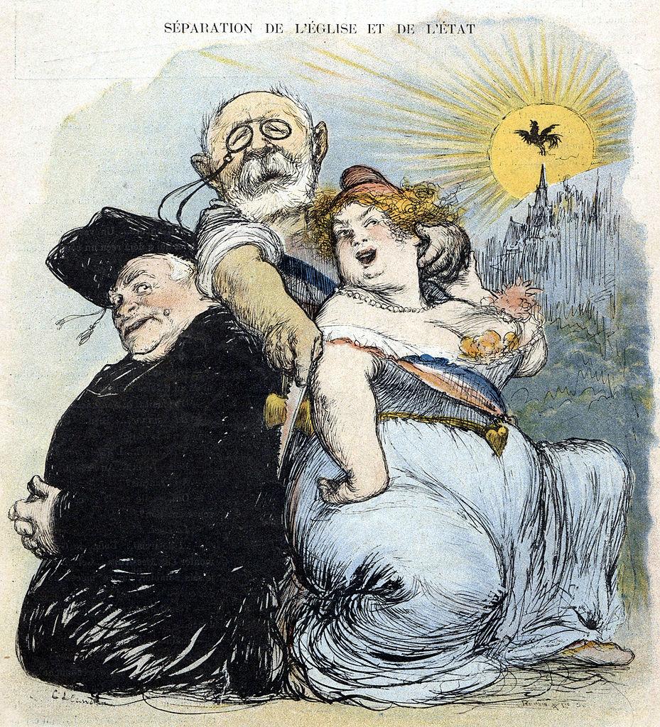 caricature séparation Église État