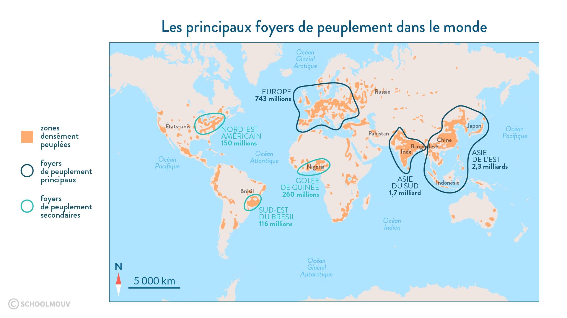 Principux foyers de peuplement dans le monde - Géographie - 2de - SchoolMouv