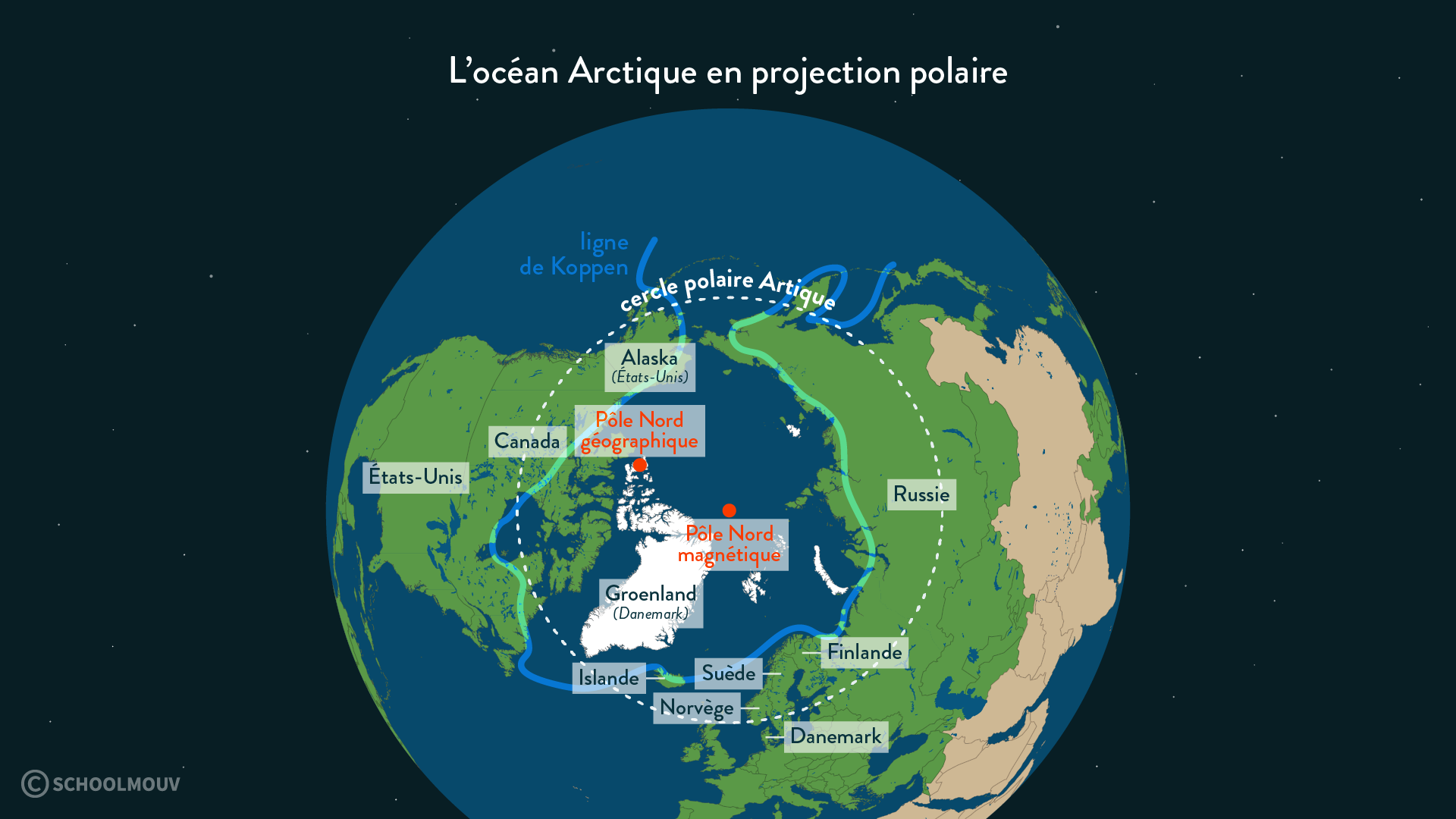 Carte représentant l'océan Arctique en projection polaire - SchoolMouv - Géographie - 2de