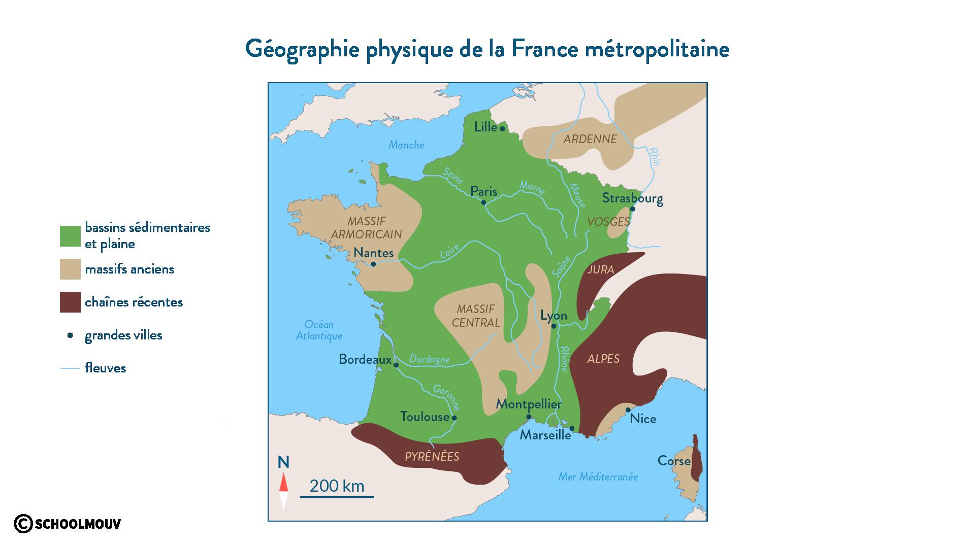 Géographie physique de la France métropolitaine - SchoolMouv - Géographie - 2de