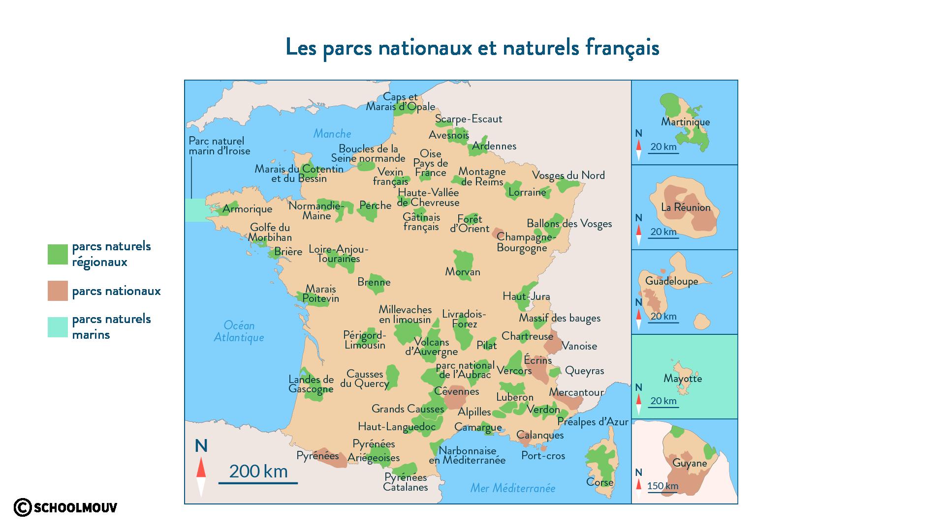 Les parcs nationaux français et naturels français - SchoolMouv - géographie - 2de